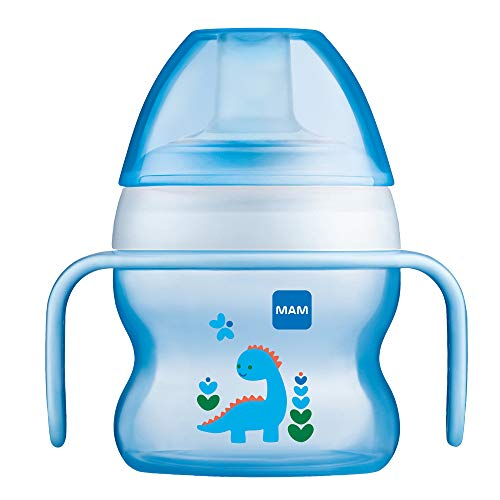 MAM Starter Cup (1 Count), MAM Sippy Cup, Drinking Cup with Extra-Soft Spill-Free Spout and Non-Slip Handles, for Boys 4+ Months, Five Ounces, Blue