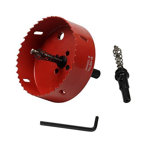 ASNOMY Bi-Metal Coronas Perforadoras de 100 mm con eje de metal para sierra de corona para hierro aluminio, madera, cartón, tubos de plástico, paneles de fibra