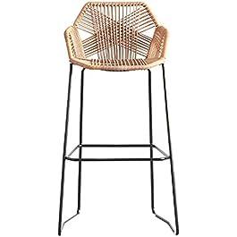 DLC Bar, Café, Chaise de Restaurant, Tabourets de Bar Chaise En Osier de Rotin Pour Comptoir de Petit-Déjeuner de…