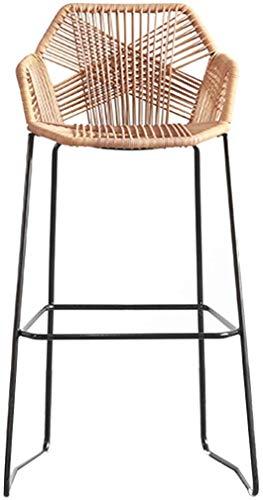 MJYY Bar, cafetería, silla de restaurante, taburetes de bar, silla de mimbre de mimbre para cocina, pub, cafetería, barra de desayuno con reposapiés y amplificador; Taburete trasero caqui marrón