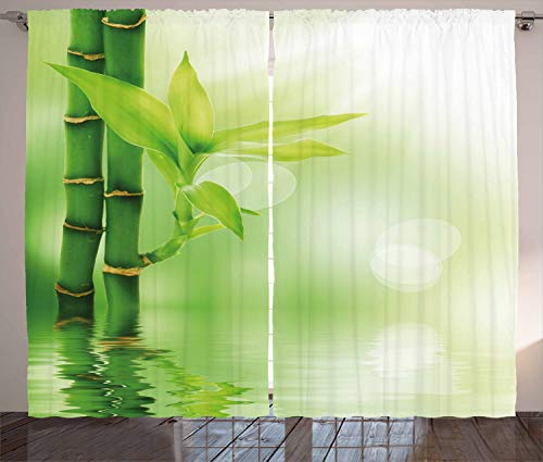 ABAKUHAUS Planta Cortinas, Bambú de Agua, Sala de Estar Dormitorio Cortinas Ventana Set de Dos Paños, 280 x 245 cm, Verde Esmeralda