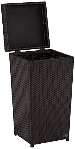 Crosley Furniture Palm Harbor Outdoor Wicker Trash Bin, Brown
