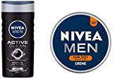 NIVEA MEN Hair, Face & Body Wash, Active Clean Shower Gel, 250ml and NIVEA MEN Cream, Dark Spot Reduction, 150ml