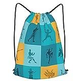 DJNGN Mochila Unisex con cordón, Conjunto de Iconos de Artes Marciales, Mochila Informal con cincha, Mochila de Entrenamiento Deportivo para Yoga en la Playa