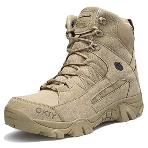 Wygwlg Hommes Militaire Combat Boot Durable Armée Cheville Chaussures Police Sécurité Travail Bottes en Plein Air Antidérapant Forces Spéciales Boot,Sand color-45