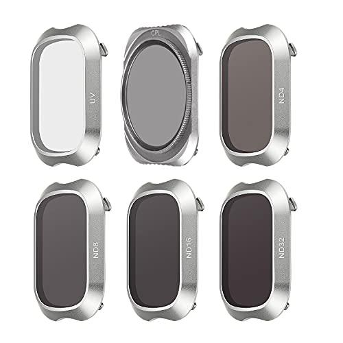 FEPITO 6 Pack Linsen Filter Multi Beschichtete Filter für DJI Mavic 2 Pro, ND4 ND8 ND16 ND32 UV CPL, DJI Mavic 2 Pro Zubehör