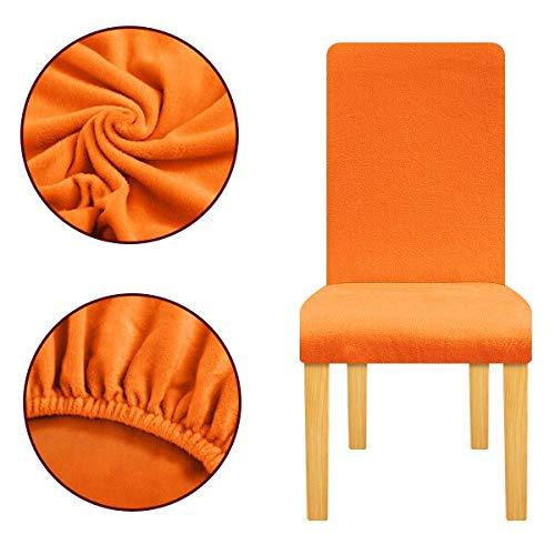 PCSACDF pluche stof dikke stoelbekleding stretch stoelhoezen elastische bankhoes voor bruiloftsceremonie bureaustoel feestbank hotel Universal Size oranje