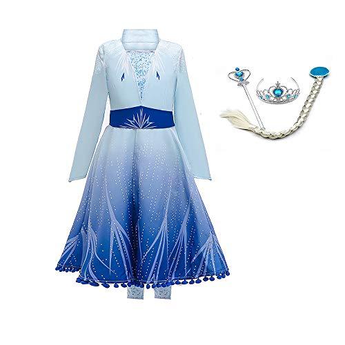OwlFay Disfraz Elsa Frozen Niñas Princesa Vestido Reino de Hielo Vestido de Carnaval Fiesta Halloween Cosplay Navidad Costume 3-4 Años