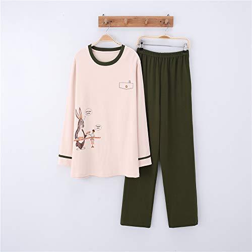 Damen Baumwolle Schlafanzug Pyjama Set Lang Zweiteilige,Paar Baumwolle Langarm Männer und Frauen Anzug zu Hause Service A-9 männlich M