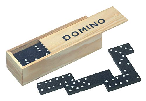 Tops 28 Dominosteine in Holzbox Spielsteine 16x4x3cm Dominospiel Domino Spiel