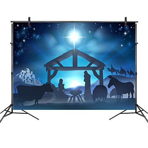 LB 7x5ft Easter Jesus Nativity Backdrop Birth of Jesus Manger Backdrops for Photography Kids Bithday Baby Shower Event Religion Christian Party Photo Booth Studio Props