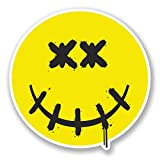 2 x 30cm/300mm Dead Smiley Face Vinyl Sticker Decal Laptop Travel Luggage Car iPad Sign Fun #4633