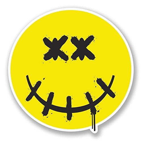 2 x 30cm/300mm Dead Smiley Face Vinyl Sticker Decal Laptop Travel Luggage Car iPad Sign Fun #4633