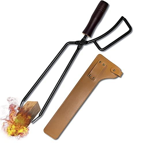 CARBABY 薪ばさみ ファイヤープレーストング 炭ばさみ BBQカーボントング バーベキュー用 暖炉器具 キャンプ道具 収納カバー付き