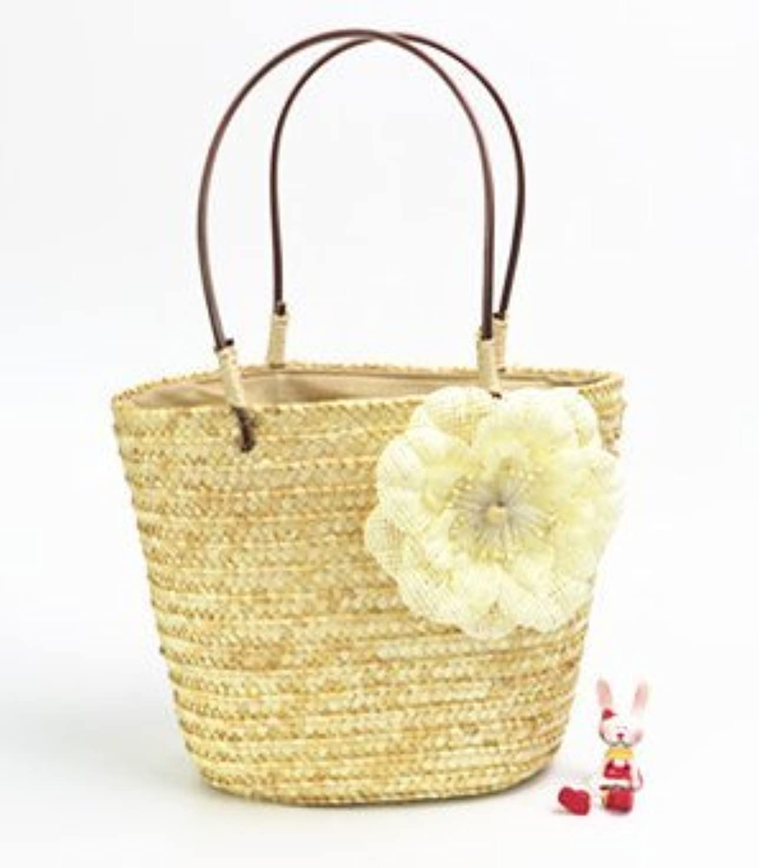 外側細胞不当【ノーブランド品】ベージュ かごバッグ  花モチーフ付き