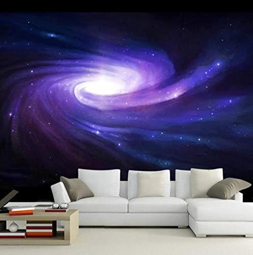 Behang vliesbehang zijde 3D behang creatieve ruimte modern Galaxy Star Purple Swirl behang KTV bar woonkamer behang vlies 200*140