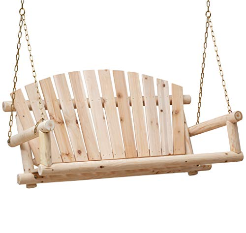 Anjor 800lbs Hanging Log Porch Swing with Chains Wood Heavy Duty 4 Ft, Unfinished