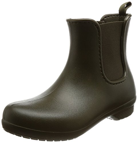 Crocs Women's Freesail Chelsea Rain Boot, Dark Camo Green, 8 M US