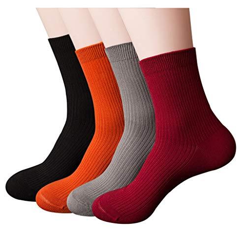 Overmal - Lot de 4 paires de Chaussettes Coton Couleur unie Épaissir Chaussettes Affaires Hiver absorption de la sueur déodorant Respirant Outdoors Chaussettes de Sport Homme
