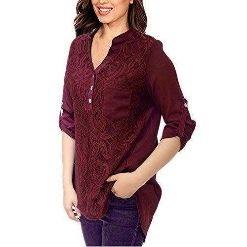 PPPPA Damenhemd Langarmhemd Saum Langarmhemd mit V-Ausschnitt lässig Chiffonhemd Damenhemd große Größe schlank V-Ausschnitt Knopf Hemd Hemd Hemd T-Shirt Freizeithemd Frühling und Sommer Sweatshirt
