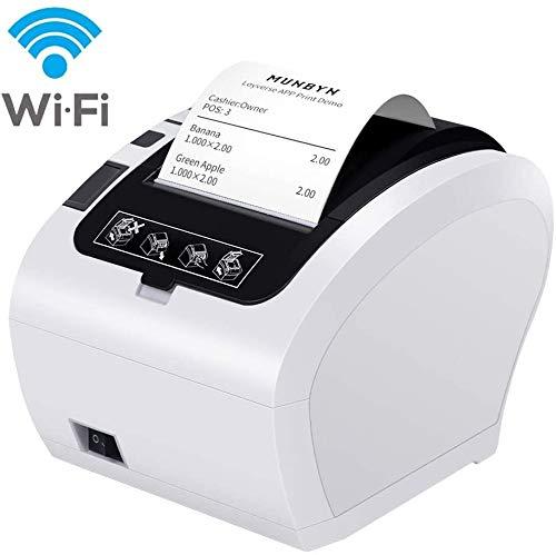 MUNBYN Impresora de Ticket Térmica WIFI Inalámbrica, Tiketera de 80mm de Recibos, Impresora Etiquetas Velocidad 300mm/s ESC/POS USB Compatible con Mac/Android/ Windows, Blanca