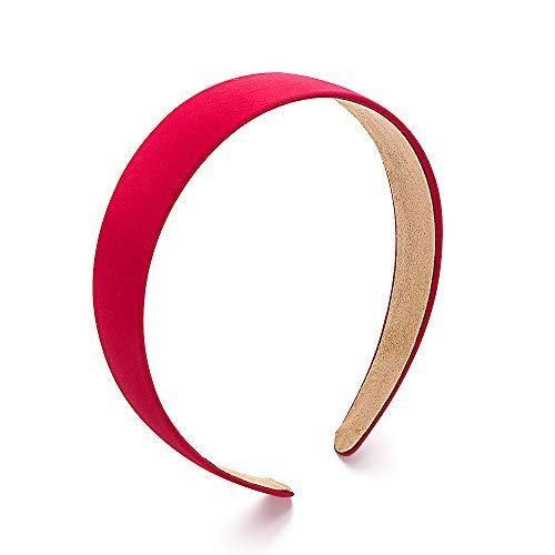 Milifeel Bande de Cheveux Alice en Satin de Couleur Unie,Bandeau Large en Tissu de Cerceau de Cheveux Large,Tissu Satin Multi Color Choisir(Red)