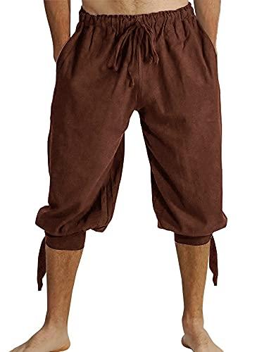 Herren Kurz Hose Pluderhose Mit Schnürung Sommer Hose Wikinger Pirat Mittelalter Vintage Kostüm Casual Freizeit Hose Strand Shorts für Männer, A-Braun, L