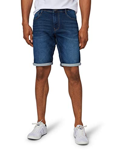TOM TAILOR Herren Jeanshosen Josh Regular Slim Bermuda Shorts Dark Stone wash Denim,32