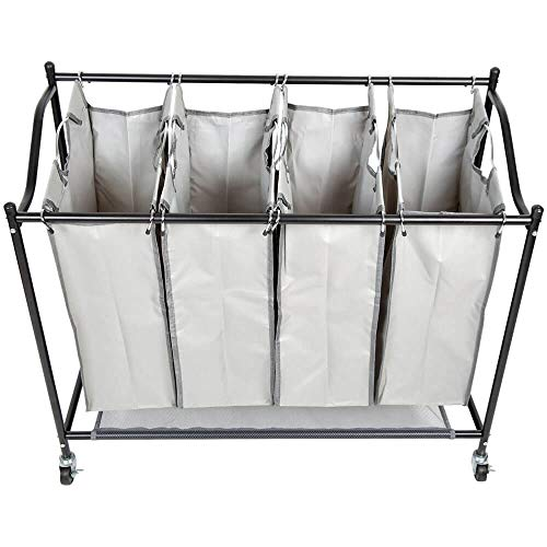 Intercon Wäschekorb Wäschesammler - 4 abnehmbare Wäschebeutel, auf premium Rollen - 35 Liter