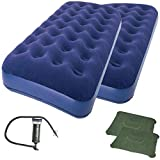 2-Piece of Zaltana Twin Size Air Mattress with Double Action Pump & 2 Inflatable Pillow Combo (AMNx2+AP3+PL1x2)