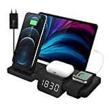 3 in 1 Wireless Charger Stand with Clock for Multiple Devices Charging Compatible with Android and...