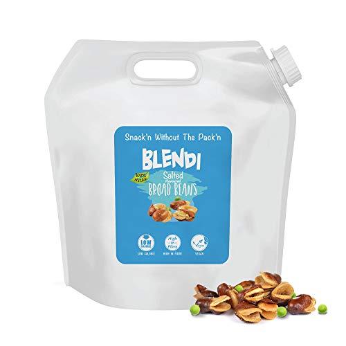 Blendi Snacks Saludables Bajos en Calorías - Aperitivos Sin Gluten, Altos en Proteína Vegana y Fibra - Habas y Guisantes Tostados, Salados con Cáscara - 1.3kg Bolsas de Aperitivos Gourmet