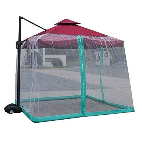 ZHTY Malla de poliéster, Carpa para pabellón de jardín al Aire Libre, mosquitera para sombrilla con Puerta con Cremallera, mosquitera para Exterior con Doble Puerta