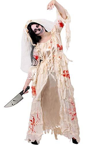 ILOVEFANCYDRESS Disfraz DE Novia Zombi Conjunto TEMATICO para Adultos DE Vestido Blanco con Accesorios Y Pinturas FACIALES Halloween (XL)