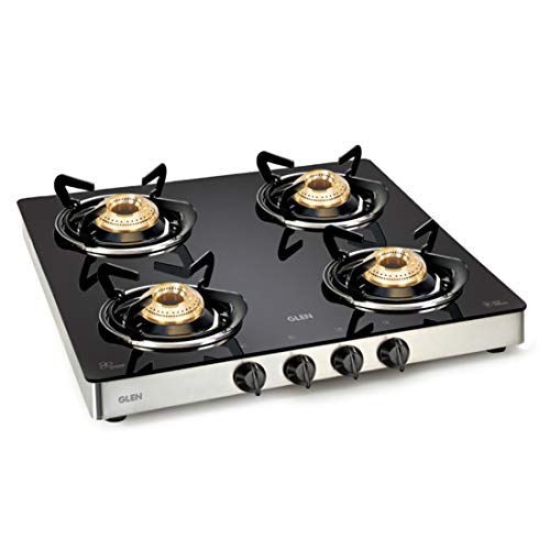 Glen Stainless Steel Four Burner Glass Top LPG Stove 1043 GT EX with Fuel Efficient Brass Burners (Black)