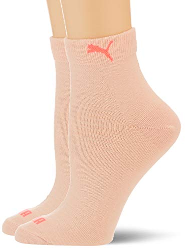 PUMA Women's Quarter Socks (2 Pack) Calzini, Rosa Fluo, 35-38 Donna