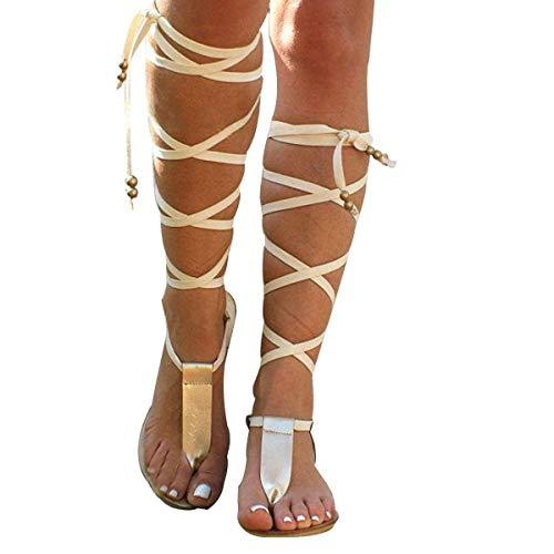 Fantastic Deal! Meiliwanju Womens Ankle Strappy Open Toe Flat Sandals Summer Fashion Bohemian Faux L...