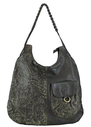 Sunsa Ledertasche Damen Handtasche Tasche Shopper Schultertasche Tote große Handgelenktasche Henkeltasche Damentasche Weekender Retro Vintage groß Leder Frauentasche Umhängetasche grün Bowlingtasche