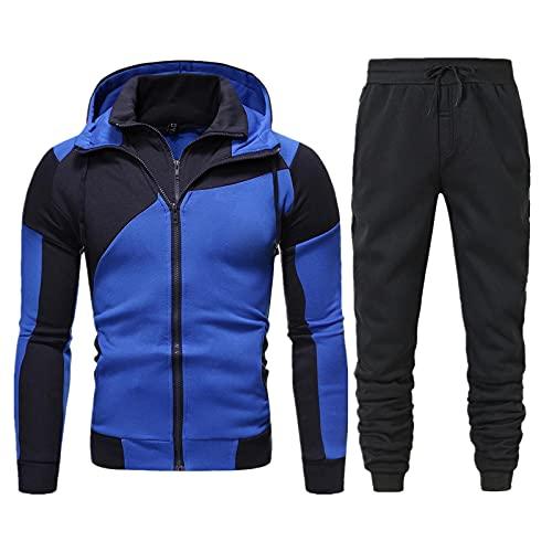 Sheey Conjunto de Ropa y Pantalones Costura Cremallera Chándal Traje Deportivo para Hombre, Pantalones Abrigo Chaqueta Jersey para Otoño Invierno Inicio, Trabajo