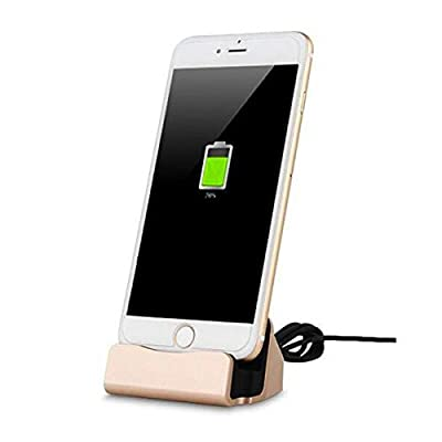 YooGoal Docking Station Desk Charger, Charging Dock, Charge and Sync Phone Stand Compatible With Phone XS Max XS XR X 8 8Plus 7 7Plus 6 6S Plus 5 5S SE and More (Gold) from YooGoal