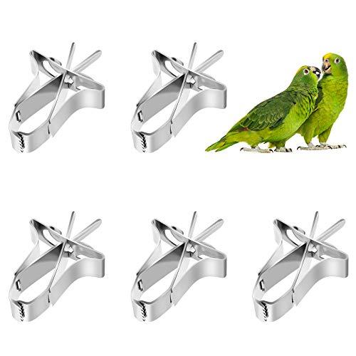 5pcs Comedero para Pajaros Clip de Alimentación para Loros Aves Comida Titular Abrazadera Accesorios Jaula de Pájaros Clip de Comida para Loros Canarios Periquitos