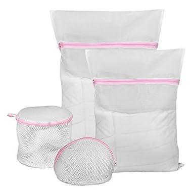 COMSUN 4 Pack Mesh Laundry Bags - 1 Extra Large, 1 Medium, 1 Triangular Shape Bra-Saver Bag, 1 Domed Wash Bag, Delicates Travel Laundry Bags for Washing Sweater Underwear Bra