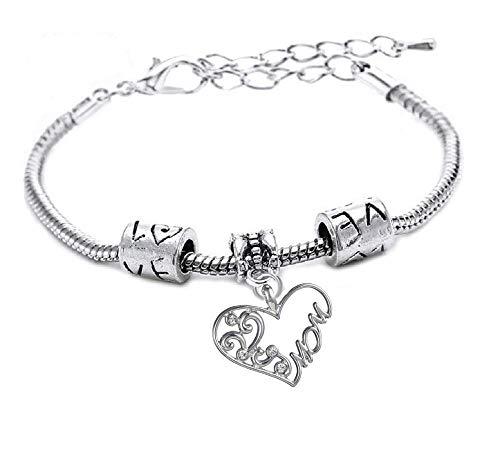 Armband - hanger - armband - motivatie - familie - hart - vrouw - moeder - man - unisex - zilverkleurige feestdagen - moederdag - sieraden mom