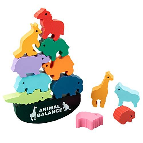Houten evenwichtsspel dierenblokjes stapel bouwstenen evenwichtsbalk weegschaal speelgoed motorisch speelgoed kinderen educatief speelgoed voor kinderen vanaf 3 jaar
