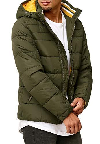 Indicode Herren Philpot Steppjacke in Daunenjacken-Optik mit Abnehmbarer Kapuze und Stehkragen| gefütterte sportliche Winterjacke warme robuste Übergangsjacke Jacke für Männer Forest M
