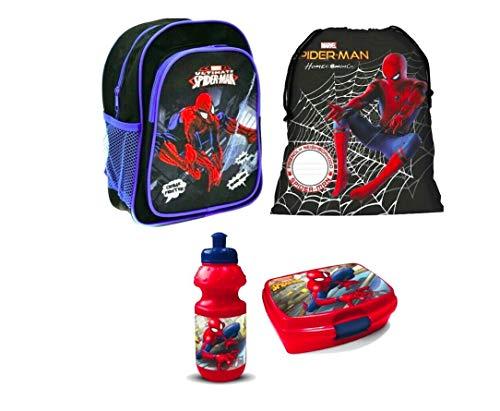 Spiderman Spider Man Rucksack Tasche Kindergarten 4 Teile Set Brotdose Flasche inklusive Sticker von Kids4shop