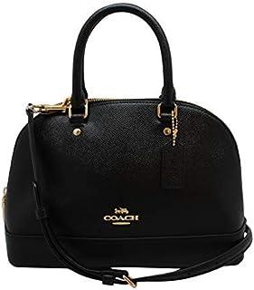 Womens Mini Sierra Satchel Handbag, Crossgrain Leather, Detachable Crossbody Strap (Mini, Black),Medium