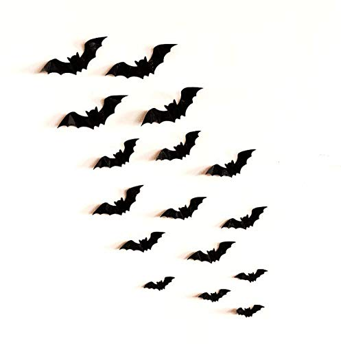 AgeXinjo Mixed of 48PCS Removable 3D Bat Stickers Wall Art Decor DIY Halloween Stickers Home Wall Decals for Halloween Party Kids Children Bedroom Living Room Nursery Classroom