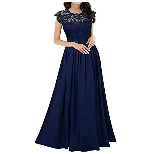Janly Clearance Sale Vestido para mujer, de gasa, con costuras de gasa, para damas de honor, vestidos de noche, para vacaciones, verano, azul marino