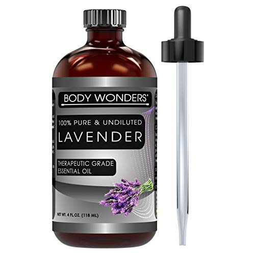 Body Wonders 100% Pure & Undiluted Lavender Therapeutic Grade Essential Oils 4 Fl Oz 118 Ml